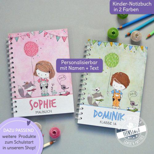 Notizbuch für Mädchen und Jungen, personalisierbar mit Namen und Text