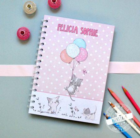 Kinder Notiz-buch block Tagebuch, blanko glatt kariert dotted gepunktet, personalisierbar mit Namen