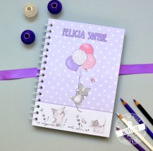 Notizbuch mit Katzen, blanko, kariert, dotted, personalisierbar - Name, Farbe, Design Feenstaub
