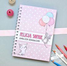 Notizbuch für Mädchen mit süßen Kathen in rosa oder Lila, Geschenk zum Schulbeginn
