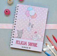Notizbuch personalisierbar für Mädchen mit Katzen in rosa oder lila