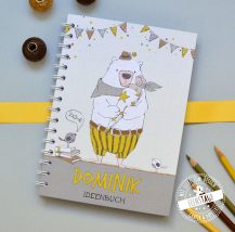 Notizbuch für Schulkind mit Namen personalisierbar und gelben Bär