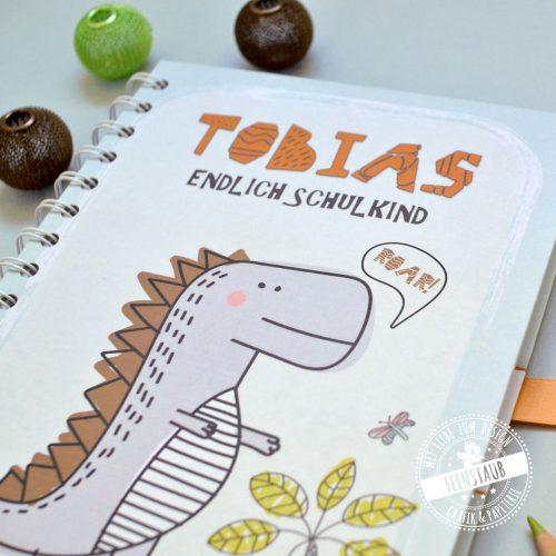 Notizbuch mit Namen Geschenk zum Schulstart Einschulung in Schultüte A5 80 Blatt Dinosaurier orange