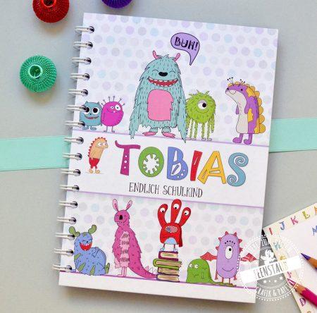 Schulkind notizbuch für vokabeln mit süßen Monstern