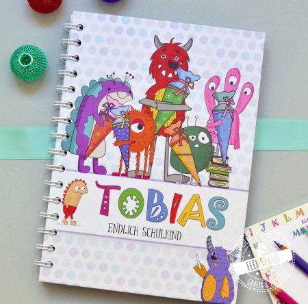 Notizbuch zum Schulanfang Geschenk zur Einschulung bunte süße Monster