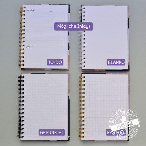 Notizbücher für Kinder, Geschenk zur Einschulung Schultsart Schulbeginn, Inlays wählbar - kariert, blanko, gepunktet To-Do Liste, personalisierbar - Name, Farbe, Design von Feenstaub