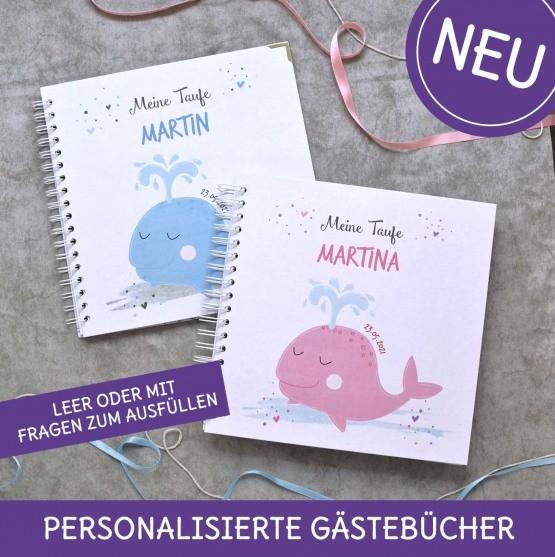 Gästebücher für die Taufe personalisiert mit Wal für Jungen und Mädchen