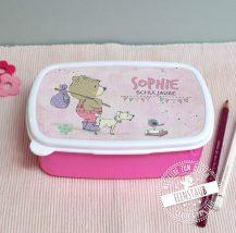 Jausenbox rosa mit Bären und Namen des Schulkindes bedruckt