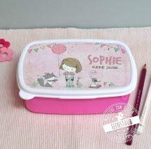 Jausenbox für Mädchen mit Namen bedruckt in rosa, Geschenk für Schultüte