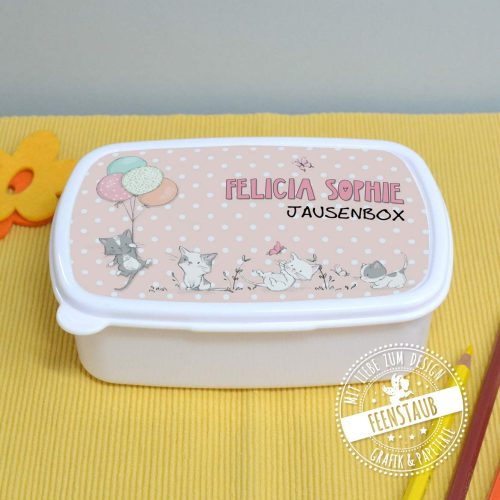 Jausenbox mit Katzen und Namen bedruckt, Geschenk zum Schulstart