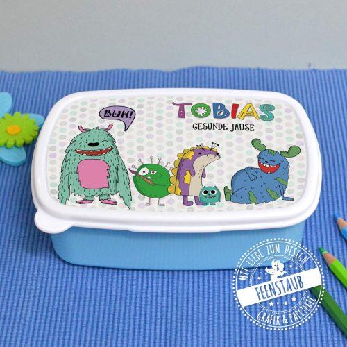 Brotdose, Lunchbox mit Monstern und Namen personalisiert
