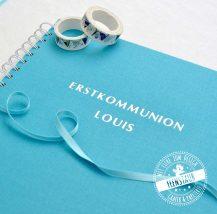 Erstkommunion Leinengästebuch mit Prägung in silber oder gold