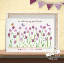 Fingerabdruckbild für die Erstkommunion Blumenwiese