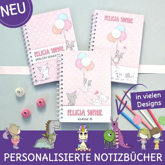 Personalisierte Notizbücher für den Schulstart mit Katzen
