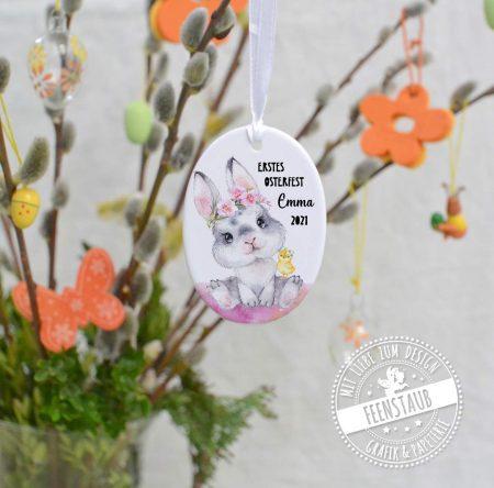 Mitbringsel zum Osterfest, individuell bedruckte Osteranhänger mit Namen