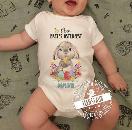 Bügelbild für Babybody zu Ostern, mit Namen personalisierbar
