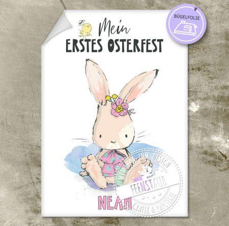 Erstes Osterfest für Baby Bügelbild für Body mit Namen