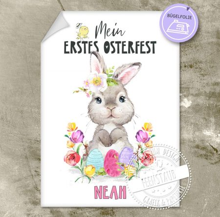 Bügelbild für erstes Osterfest mit Namen personalisierbar