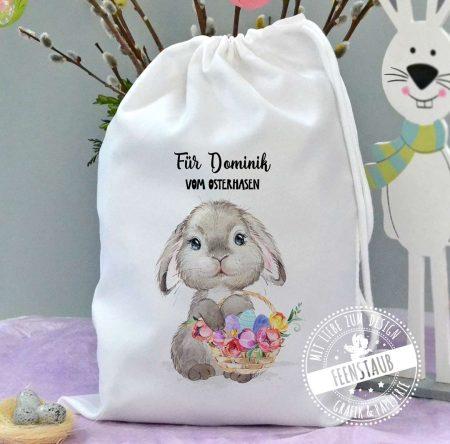 Osterkörbchen Geschenkverpackung mit Hasen und Namen