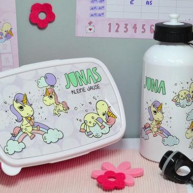 Brotdose und Trinkflasche mit Einhörnern - Geschenk zur Einschulung