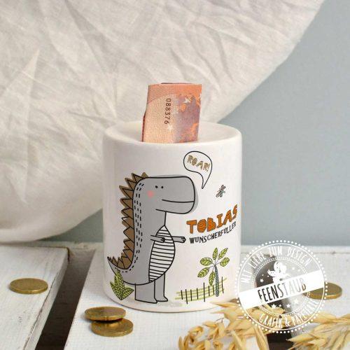 Spardose für Kinder mit Dino und aufgedruckten Namen