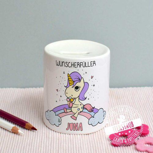 Spardose aus Keramik für Kinder mit Einhorn und personalisierbaren Namen