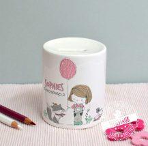 Spardose aus Keramik für Mädchen, mit Namen personalisierbar