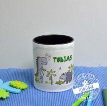 Stiftebecher mit Namen personalisiert für Jungen mit Dinos