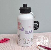 Trinkflasche mit Katzen, Namen aufgedruckt