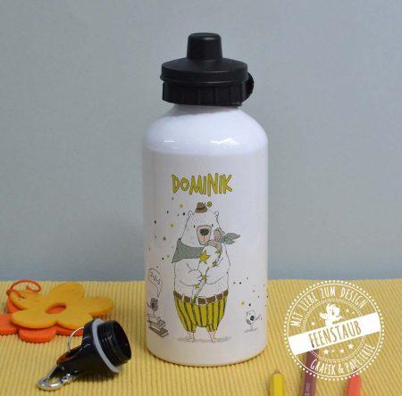Trinkflasche mit Bären, personalisierbar mit Namen