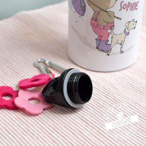 Trinkflasche für Mädchen in rosa mit Namen aufgedruckt