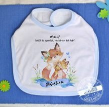 Lätzchen personalisierbar mit Füchsen, Geschenk zum Muttertag von Baby.