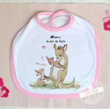 baby Lätzchen mit Kängurus Mama und Kind, mit Namen personalisierbar