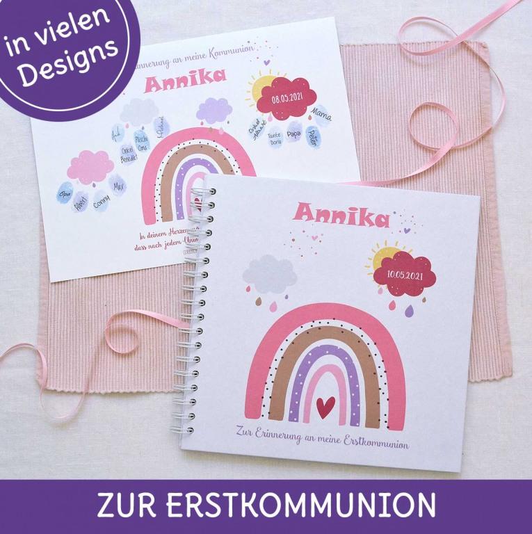 Erstkommunion- Gästebücher und Fingerabdruckbilder als personalisiertes Geschenk