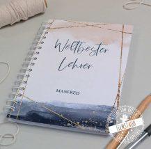 Notizbuch für Lehrerin, personalisiert und mit wählbaren Blättern