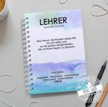 Persönliches Abschiedsgeschenk für Lehrer, Notizbuch mit Namen und Spruch