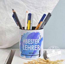 Stiftehalter personalisiert als perfektes Abschiedsgeschenk für den Lehrer