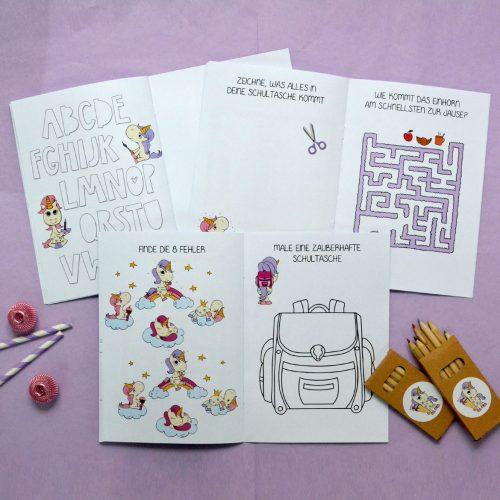 Geschenk für Kinder zum SChulstart, Malhefte mit Rätselspaß