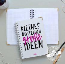 personalisiertes Notizbuch in A5, Name, Spruch, Innenblätter, Spirale, Buchecken