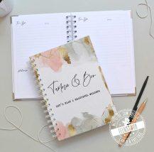 notizbuch nach wunsch personalisiert, gold rosa, blau