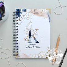Notizbuch personalisiert mit Monogramm und Name, hardcover Notizheft mit Spiralbindung