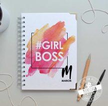 personalisiertes Notizbuch girlboss mit namen