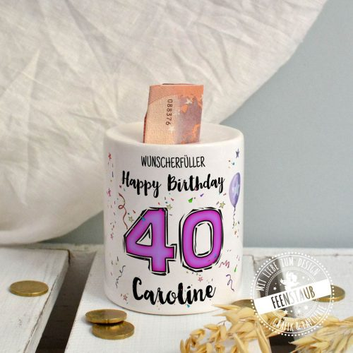 Geburtstag Geld schenk in personalisierter Spardose aus Keramik