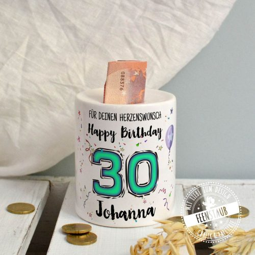 Geld schenken zum Geburtstag, Geld gut verpackt in Spardose