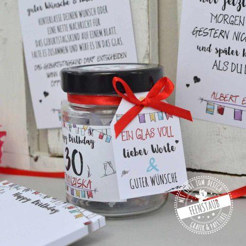 Wunschglas für all die guten Wünsche, netten Worte und Glückwünsche zum Geburtstag
