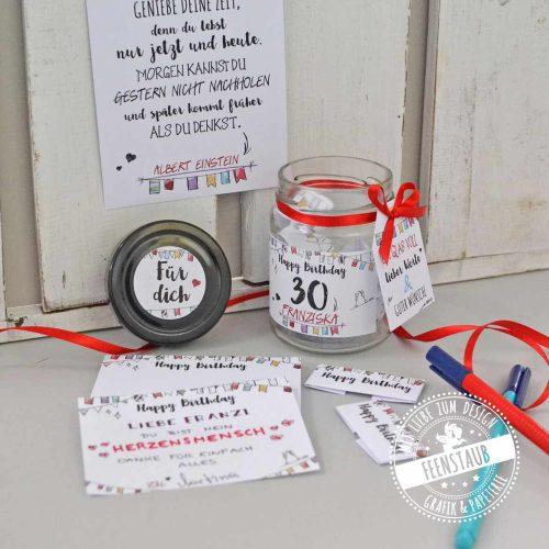 Wunschglas für Glückwünsche und nette Worte zum Geburtstag Set mit Glas, Block und Karten
