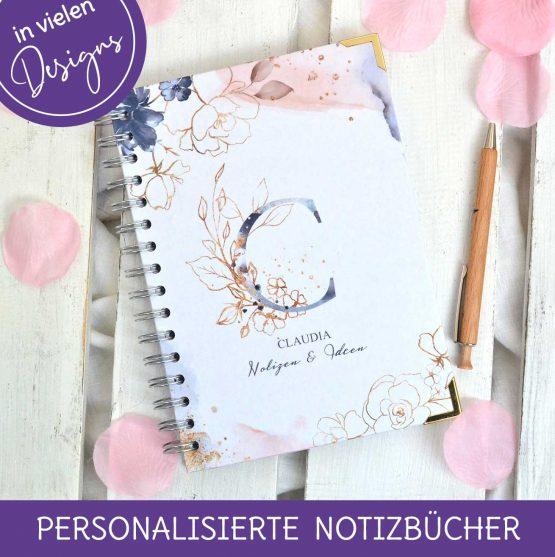 Geschenkidee für Mutter Schwester oder beste Freundin ein personalisiertes Notizbuch mit Namen