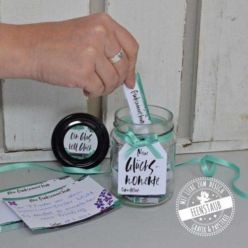 Glück im Glas mit Block, Glas, Karte, Beschreibung, Anhänger