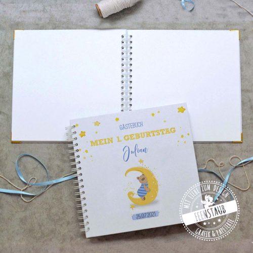 Gästebuch für die Taufe mit blauen Bären auf Mond