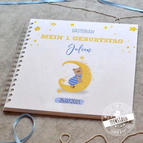 gästebuch für die Taufe blanko oder mit vorgedruckten Fragen zum Ausfüllen, für Junge blauer Bär